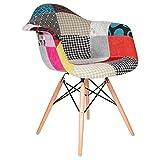 Sedia con fodera in tessuto Patchwork di Charles & Ray Eames Ispirazione DAW Patchwork di Charles & Ray Eames Profondità 65 cm - Larghezza 65 cm - Altezza 81 cm - Seduta H. 44