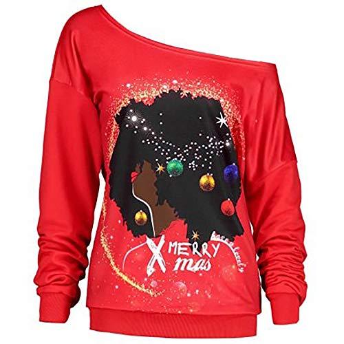 Christmas Pullover Damen UFODB Frauen Sweater Langarm Printed -