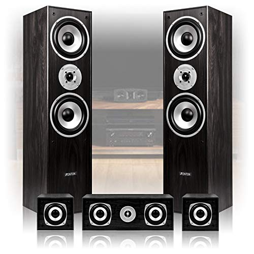 516tXdg2L%2BL. SS500  - Fenton 5.0 Surround Sound Speakers System Hi Fi Home Cinema Theatre Black Wooden Tower Satellites