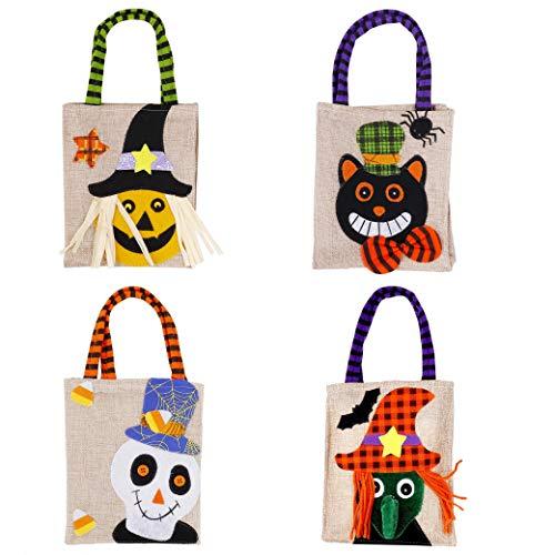 Borse di halloween sacchetti di caramelle regalo, borsa tote goodie dolcetto o scherzetto per bambini, 4 pezzi sacchetti per regali per feste con manici bomboniere pacchetti
