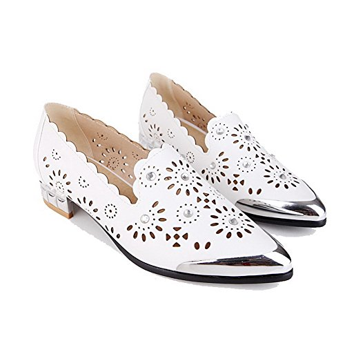 AgooLar Femme Pointu Matière Souple Mosaïque Tire Chaussures Légeres Blanc