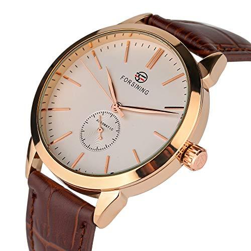 Yisuya Armbanduhr für Herren, mechanische Sportarmbanduhr mit Echtleder-Armband, analog, selbstaufziehend, modisch -