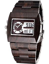 Mode estilo Cómodo Analog de Digital Reloj de pulsera hombre madera Relojes con 100% Natural sándalo