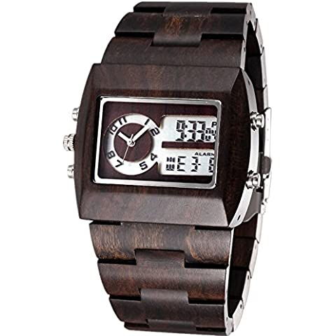 Mode estilo Cómodo Analog de Digital Reloj de pulsera hombre madera Relojes con 100% Natural