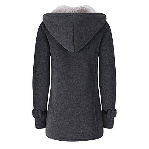 iBaste Damen Jacke mit Kapuze Parka Kapuzenpullover Hoodie Cardigan Outdoorjacke Herbst Winterjacke für Damen verdickte/tief Grau-B