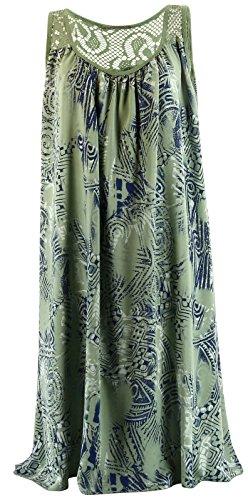 Charleselie94® - Robe été bohème ethnique dentelle grande taille kaki SOLANGE VERT Vert