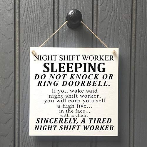 Bair89Pulla Schild mit Nachtschichtarbeiter, Don't Knock, Do Not Disturb, Geschenk