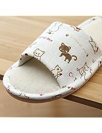 JIA HONG Sommer Coole Hausschuhe Mode Slip Leinen Hausschuhe Innenboden Drag Home HausschuheWhite(38/39)