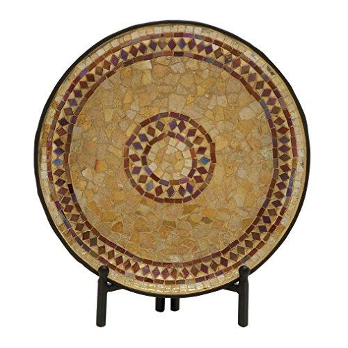 "Deco 79 24189 Metal Mosaic Platter W Stand, 14"""