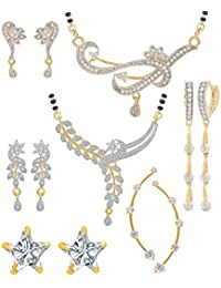 Jewels Galaxy Gold Plated Jewellery Set for Women (White)(CB-MS-846)
