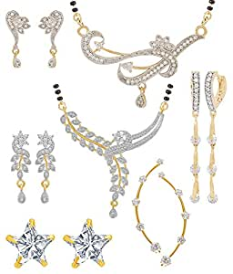Jewels Galaxy White Gold-Plated 2 Mangalsutra Set, 1 Ruby Earcuff & 2 Earrings For Women