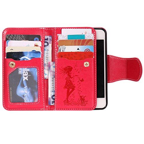 bestsky per Apple Iphone SE 5S 5case di diversi colori, design colorato pu pelle Flip Stand Funzione protettiva Cover con chiusura magnetica slot porta carte di credito e TPU morbido Bumper multicolo Red