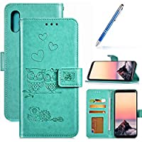Robinsoni Case Compatible with Samsung Galaxy A20 Phone Case Wallet Leather PU Cover Shockproof Kickstand Case Folio Flip Note Book Style Phone Cover