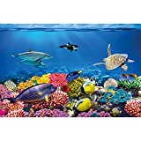 GREAT ART Poster per la Stanza dei Bambini Immagine da Parete Acquario Decorazione Mondo subacqueo abitanti del Mare Oceano Pesci Delfini Tartarughe barriera corallina - Fotomurales by (140 x 100 cm)
