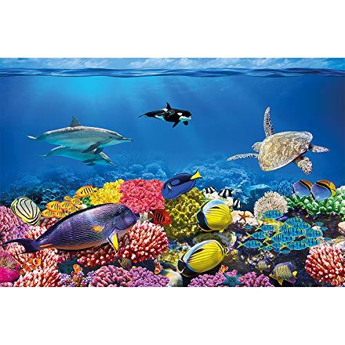 GREAT ART XXL Poster - Kinderzimmer Ozean Unterwasserwelt - Kinderzimmer Jungen Mädchen Deko Wanddeko Wandposter Korallenriff mit Meeresbewohner Wandbild Motiv (140 x 100 cm)