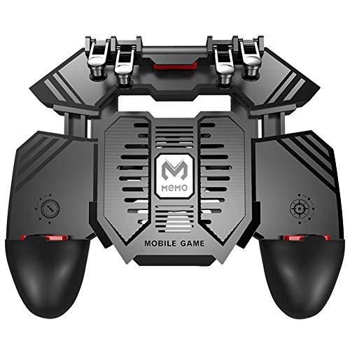 Gamecontroller 6 Finger Trigger Phone Gamepad Game Grip w/Dual Fan for PUBG/4,7-16,5 Zoll/USB-Ladegerät, 1200 mAh, 4000 mAh/Schwarz No Battery