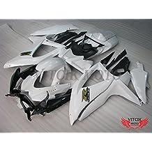 VITCIK (Kit de Carenado para Suzuki GSXR600-750 K8 2008 2009 2010 GSXR 600 750 K8 08 09 10) Accesorios de repuesto para bastidor y carrocería con completo para motocicleta y moldeo por inyección en ABS(Blanco & Negro) A042