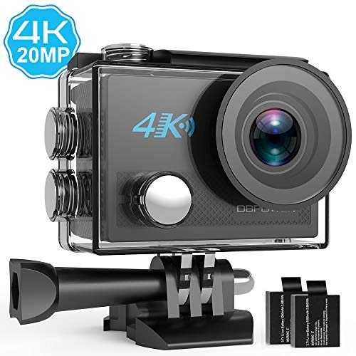 DBPOWER 4K Action Camera 20MP Ultra HD EIS WIFI Action Cam, 30M / 98ft Telecamera Sportiva Subacquea con 2 Batterie Ricaricabili