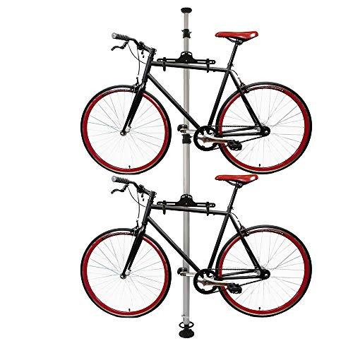 Cablematic - Caballete para aparcar dos bicicletas colgadas con sistema de presión a techo