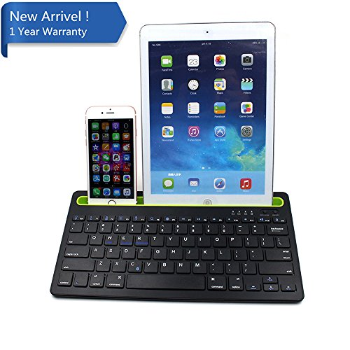 IKOS Multi-Device Bluetooth Tastatur / Keyboard für iOS Android Windows, Tablet Tastatur mit integriertem Standfuß für Apple iPhone X 8 7 6 S 6 Plus, Tablet, Mac, Smartphone, iPad Mini Air Pro
