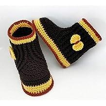 Patucos de ganchillo, tipo bota alta con lazo, hechos a mano, para bebés