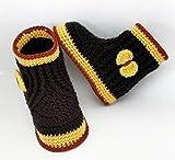 Patucos de ganchillo, tipo bota alta con lazo, hechos a mano, para bebés de 0-3 meses. Temporada Otoño-Invierno. 60% Lana 40% Acrílico Dralón Hipoalergénico