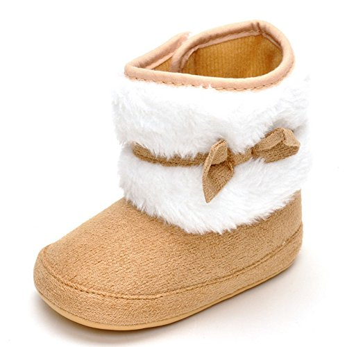 TININNA Baby Toddler Winter Warm Snow Boots Soft Anti Slip Sole Cotton Bowknot Shoes Infant Prewalker Crib Shoe for 0-18 Months baby girls boys