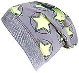 Wollhuhn ÖKO Leichte Beanie-Mütze Circle Stars graun/grün, für Jungen und Mädchen, 20180502, Größe L: KU ab 54 (darüber/Erwachsene)