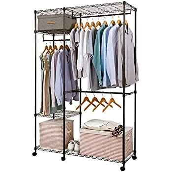 lifewit metall kleiderschrank schwerlast rollgarderobe garderobenst nder freistehender. Black Bedroom Furniture Sets. Home Design Ideas