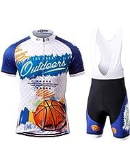 Thriller Rider Sports® Hombre The Great Outdoors Deportes y Aire Libre Maillot Manga Corta de Ciclismo y Pantalones Cortos Babero Traje Large