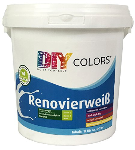 DIY Colors Renovierweiß 1l - trendige Innenfarbe, Dispersion, Dispersionsfarbe, weiß, Wandfarbe, geruchsarm, lösemittelfrei, Nassabrieb und Deckkraft Klasse 2 - Do It Yourself