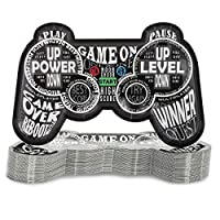 Blue Panda 48-Pack Kids Video Game Controller Birthday Party Plates, 9 x 6 Inches