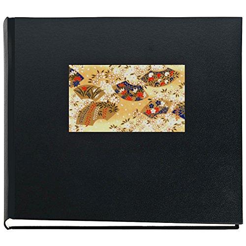 Japan Fotoalbum OUGI Schwarz 50 seitiges Buchalbum mit Yuzen Japanpapier Motiv japanische Fächer 30...