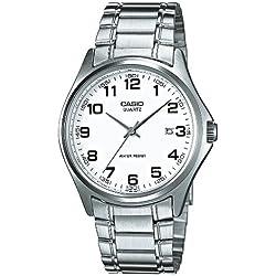 Casio-MTP - 1183PA 7B-Classic-Men's Watch Analogue Quartz White Dial Steel Strap Grey