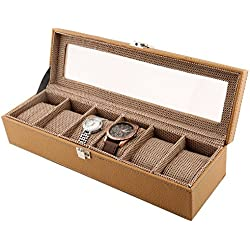 PU Leather 6-Slot Window Watch Case Designer Glass Display Top Organizer Box