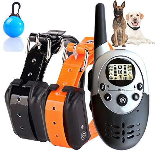 Collar de Entrenamiento de Perro, Recargable e Impermeable electrónico Perro Entrenador de la operación de Ciego Collar controlado con Tono/vibración/Light