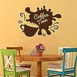jiuyaomai Taza de café Frijoles Cocina Cafetería Café Tatuajes de Vinilo Tiempo de café Etiqueta de la Pared Decoración del hogar Mural Casa Wallpaper Blanco 79x57cm