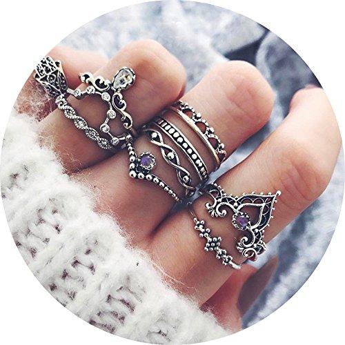 Frauen Für Schmuck Ringe (10pcs Orientalisches Vintage Fashion Midi Ringe Fingerring-Set für Damen Mädchen, Fashion Frauen Midi Ring Nagel Finger Band)
