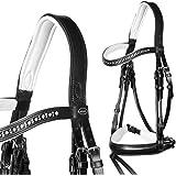 heinick de hípica puede Bocado ~ Equina Soraya redondo cosido negro blanco ~ Equestrian–Brida mediasangre, purasangre, negro