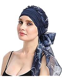 acf3ebd2f747 Moonuy Bohême Femmes Musulman Stretch Turban Chapeau Chemo Cap Perte de  cheveux Écharpe Tête Wrap Hijab Cap Casquette de…