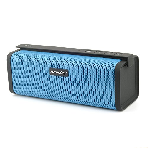 Bluetooth Lautsprecher, Reacher Wirelss Tragbar Speaker Kabellos Outdoor Musikbox Box (Starker Bass, FM Radio, eingebautem Mikrofon, Freisprecheinrichtung , 3,5 mm Audio, USB, Micro SD Karte Slot Unterstützt) Blau