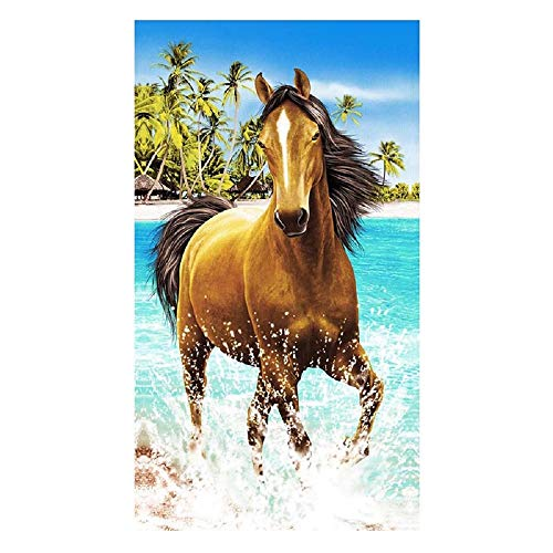 PING Strandtuch extra groß für Kinder Männer und Frauen 100 x 180 cm XL Mikrofaser Badetuch für Schwimmen, Spa, Reisen, Yoga, Sport, Camping, Sonnenbetten oder Dusche, Pferde-Tier-Aufdruck