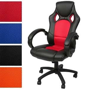Miadomodo - Chaise de bureau en simili cuir - Siège baquet de bureau - Fauteuil de bureau gamer inclinable - rouge