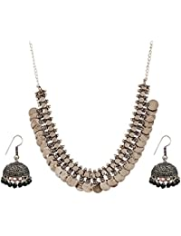 The Trendy Trendz Oxodised Silver Metal Statement Necklace Jewellery For Girls And Women
