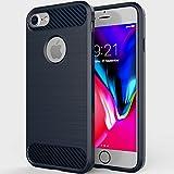 LESEEING iPhone 7 Hülle, iPhone 8 Hülle, iPhone 7 iPhone 8 Schutzhülle Case, Schlagfeste Stoßstange Carbon Silikon TPU Handyhülle, Kratzfeste Rutschfeste Hülle für iPhone8/iPhone7 [Blau][Qi]