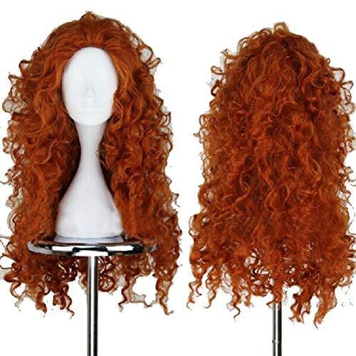 Halloween Prinzessin Merida Dunkelbraun Perücke Wig Waves Rolle Cosplay Kostüm Haar für Mädchen (Curly Brown Kostüm Perücken)