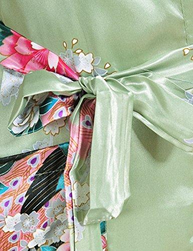 Surenow Kimono de Femme Motif Exotique Paon Fleur Kimono Satin Soyeux Peignoir Vert