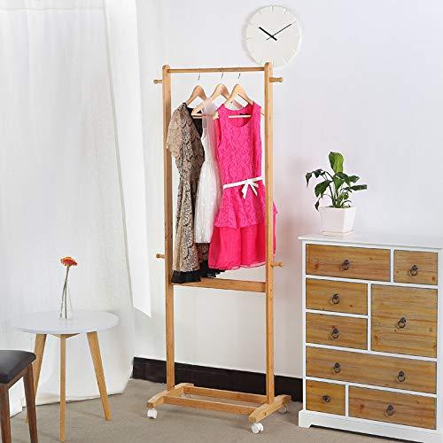 WEI Kreatives einfaches festes Holz-Kleiderständer-europäischer Stil Fußboden-Garderobenständer-Ausgangsschlafzimmer mit Flaschenzug-entfernbarer Kleiderständer,Bild,Einheitsgröße -