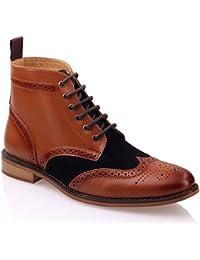 Unze Hombres Bourne ' Botas de cuero elegante formal de combate Brogue encaje tobillo botas Shoes