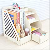 Holz Büro Desktop-Aufbewahrungsbox Information Regal Kinder-Student Bücherregal Ordner Datei-Box Datei-Leiste , white , 29*25.5*2*cm